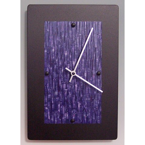 Linda Lamore Black Powder Coated Aluminum Clock B812, Artistic Artisan Designer Clocks