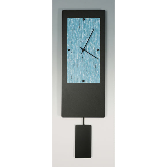 Linda Lamore Black Powder Coated Aluminum Pendulum Clock B820P, Artistic Artisan Designer Clocks