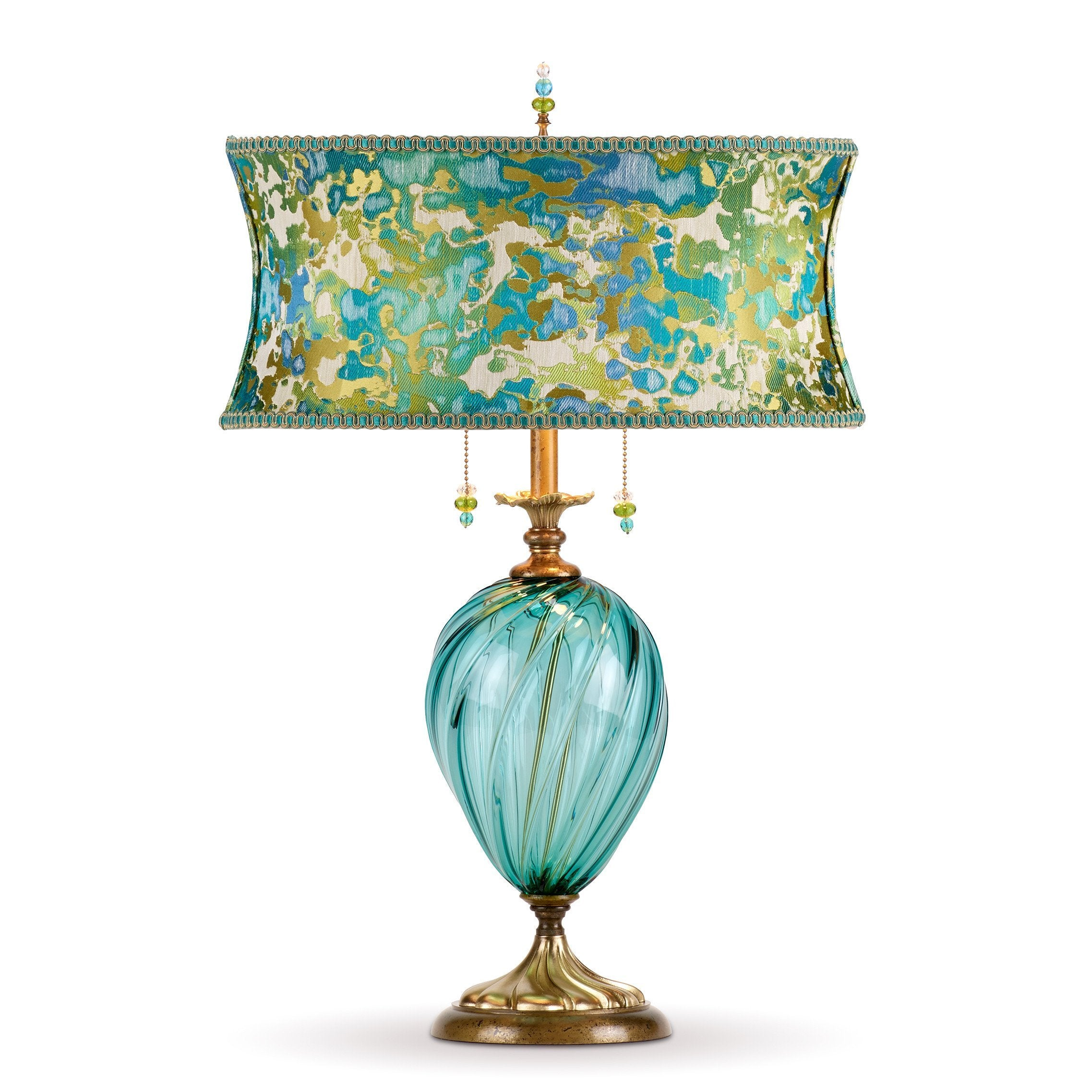 Picture of: Lucille Table Lamp Kinzig Design Turquoise Blue Lime Blown Glass Silk Shade Sweetheart Gallery Contemporary Craft Gallery Fine American Craft Art Design Handmade Home Personal Accessories