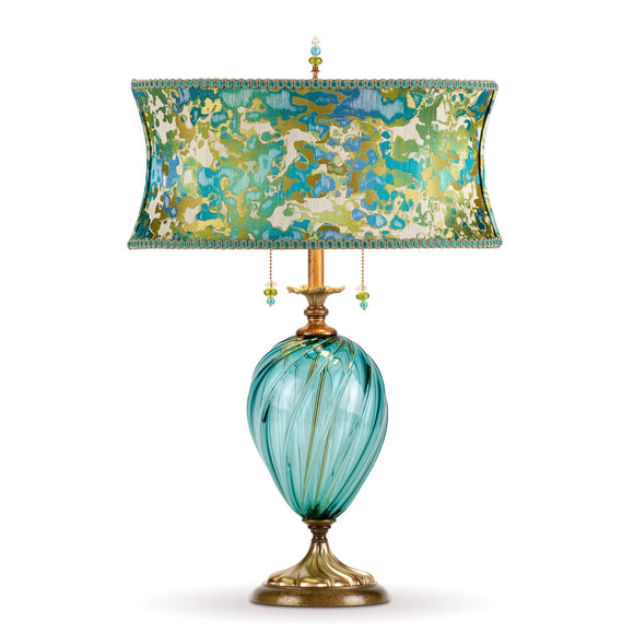Lucille Table Lamp, Kinzig Design, Turquoise, Blue, Lime, Blown Glass, Silk Shade, Artistic, Artisan-Crafted Table Lamps