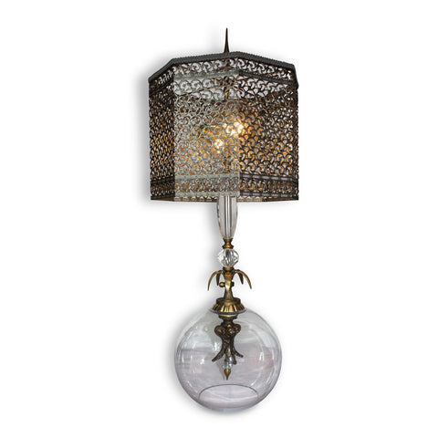Luna Bella Abelie Table Lamp with Brass and Crystal Glass Base and Intricate Brass Filigree Shade Artistic Artisan Designer Table Lamps