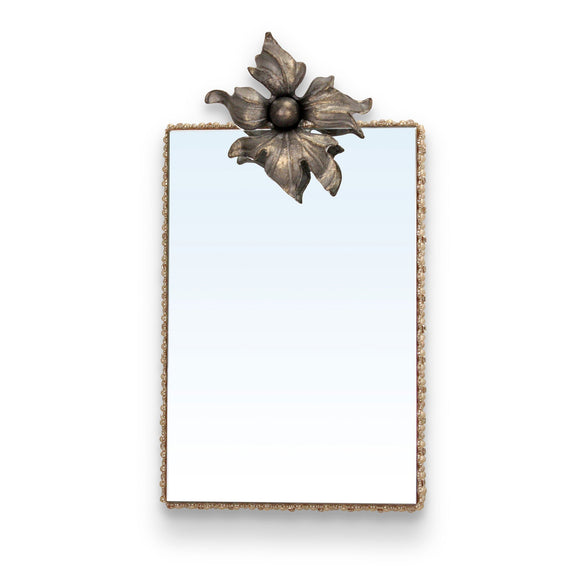 Luna Bella Adelaid Mirror with Hand Painted Iron Flower in Champagne and Iron Tone with Cream and Smoke Stone Trim Artistic Artisan Designer Mirrors