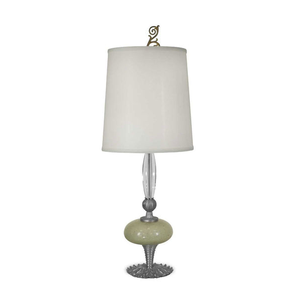 Luna Bella Amandine Table Lamp with Silvery Pewter Metals Brass Blown Glass Lime and Crystal Artistic Artisan Designer Table Lamps