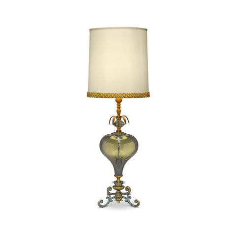 Luna Bella Azilal Table Lamp with Hand Blown Green Glass Iron and Brass Artistic Artisan Designer Table Lamps