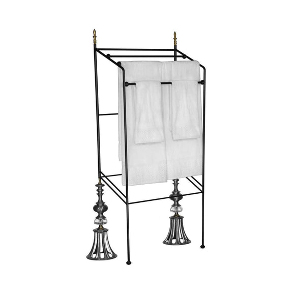 Luna Bella Cullo Towel Rack with Leaded Crystal Metal and BrassArtistic Artisan Designer Towel Racks