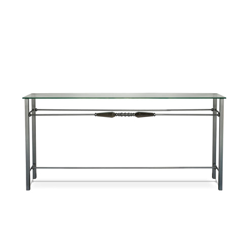 Luna Bella Favola Console Side Table with Hand Forged Iron and Smoky Leaded Crystal Glass Accents Artistic Artisan Designer Console Tables
