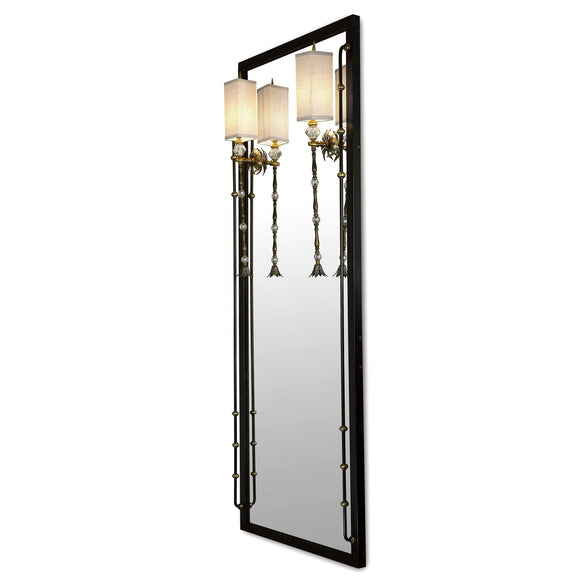 Luna Bella Flaubert Mirror with Sconce with Iron Dark Brown Finish Brass and Crystal Glass Artistic Artisan Designer Mirrors