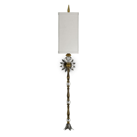 Luna Bella Flaubert Sconce with Bronze Brass and Leaded Crystal Glass Artistic Artisan Designer Wall Sconces