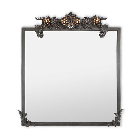 Luna Bella Florette Mirror with Lights Blackened Steel Artistic Artisan Designer Mirrors
