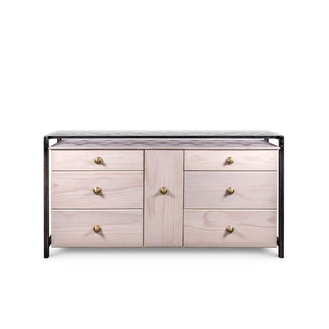 Luna Bella Ginger Dresser with White Wood Metal and Solid Brass Artistic Artisan Designer Dressers