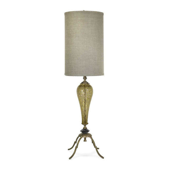 Luna Bella Lylou Table Lamp with Solid Brass and Speckled Tear Shaped Hand Blown Glass Artistic Artisan Designer Table Lamps