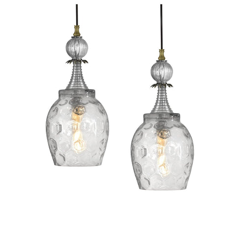 Luna Bella Oberon Large and Small Pendant with Honeycomb Glass and Brushed Silver Artistic Artisan Designer Pendant Lighting