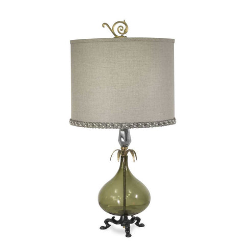 Luna Bella Russe Table Lamp with Brass and Metal Hand Blown Smoky Green Glass and Leaded Crystal Artistic Artisan Designer Table Lamps