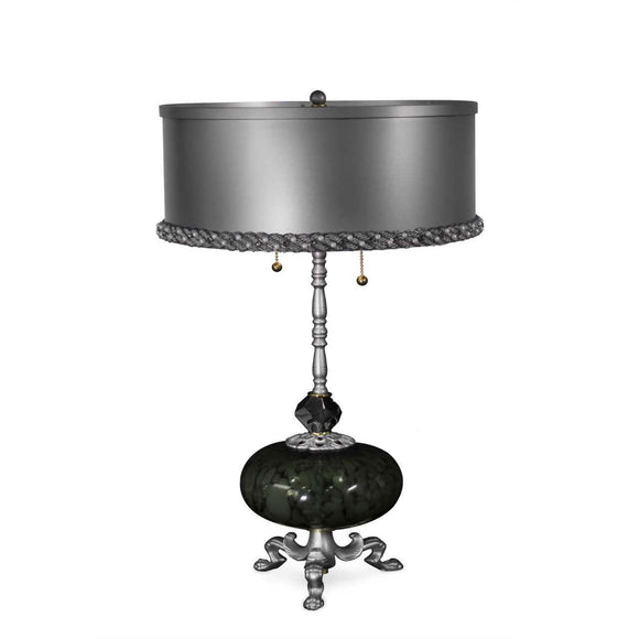 Luna Bella Sinclair Table Lamp with Iron and Brass in Pewter Color Artistic Artisan Designer Table Lamps