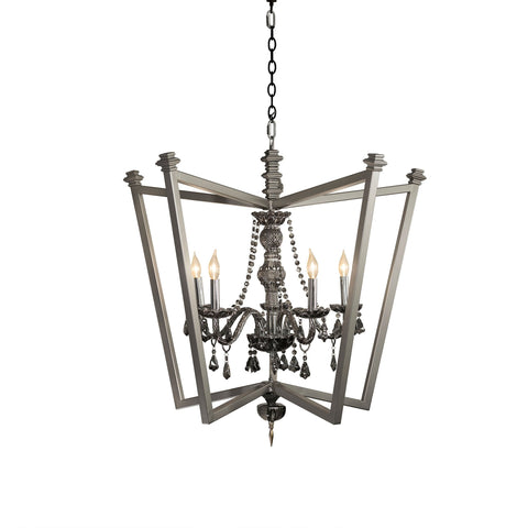 Luna Bella Velez Chandelier with Forged Steel Iron and Smoke Glass Crystal Artistic Artisan Designer Chandeliers Lighting