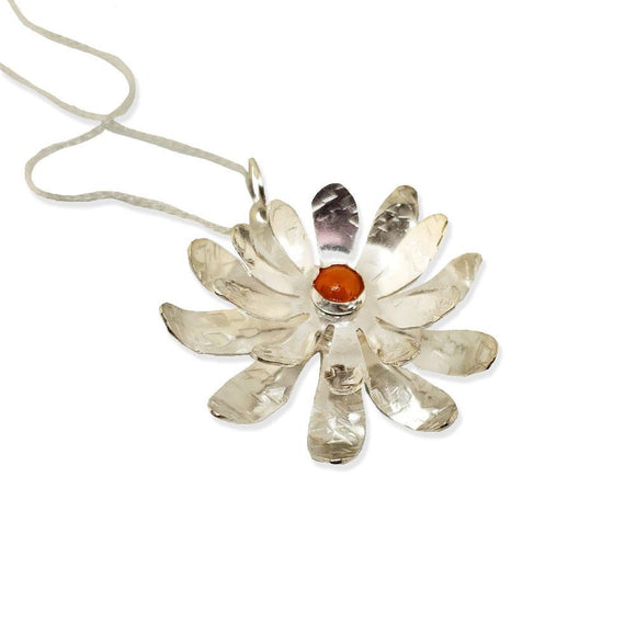 Mai Double Flower Daisy Necklace N10O25A Sterling Silver and Gemstone by Silver Garden Designs Artistic Artisan Designer Jewelry