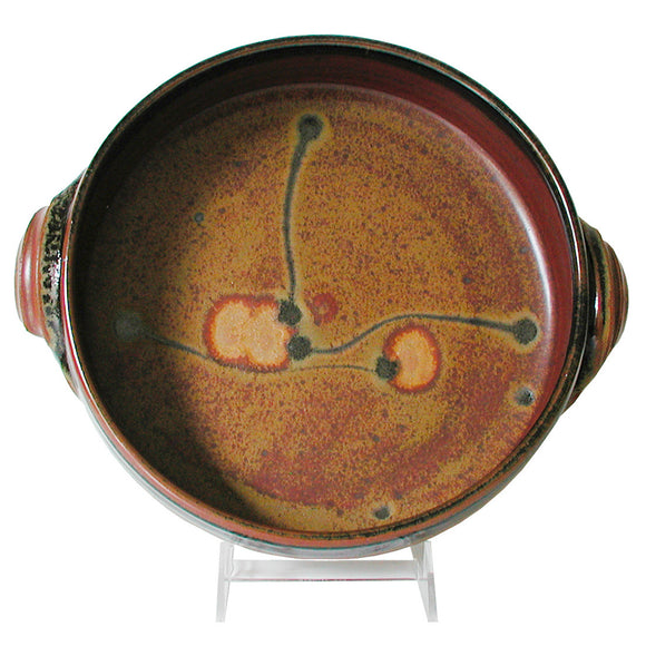 Maishe Dickman Hand Thrown Stoneware Shaner Red and Tenmoko Black Baking Dish, Artistic Artisan Pottery