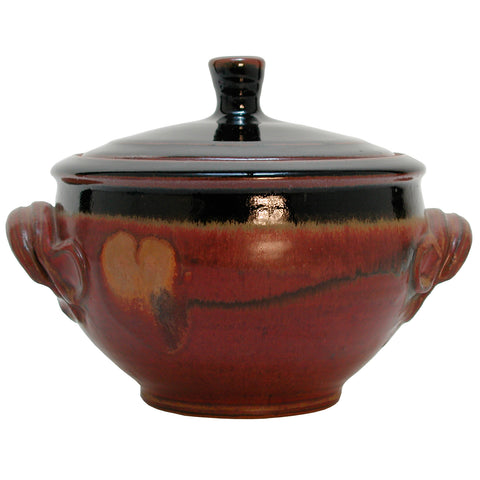 Maishe Dickman Hand Thrown Stoneware Shaner Red and Tenmoko Black Casserole, Artistic Artisan Pottery