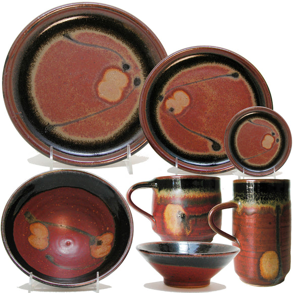 Maishe Dickman Hand Thrown Stoneware Shaner Red and Tenmoko Black Dinnerware Place Setting, Artistic Artisan Pottery