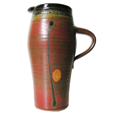 Maishe Dickman Hand Thrown Stoneware Shaner Red and Tenmoko Black Pitcher Tall, Artistic Artisan Pottery