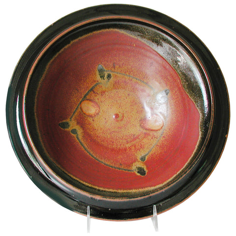Maishe Dickman Hand Thrown Stoneware Shaner Red and Tenmoko Black Serving Bowls, Artistic Artisan Pottery