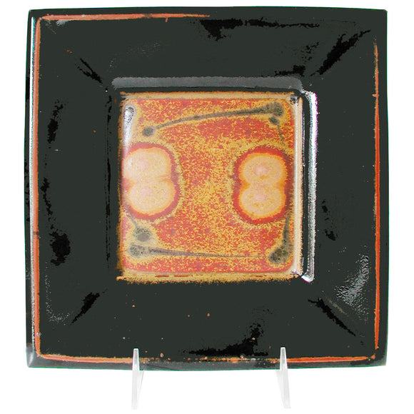 Maishe Dickman Hand Thrown Stoneware Shaner Red and Tenmoko Black Square Plate, Artistic Artisan Pottery