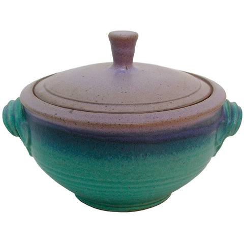 Maishe Dickman Hand Thrown Stoneware Turquoise Casserole, Artistic Artisan Pottery