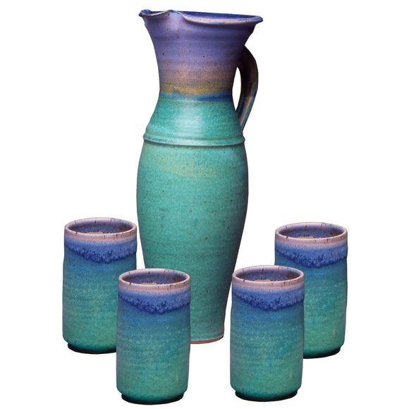 Maishe Dickman Hand Thrown Stoneware Turquoise Tall Pitcher and Four Tumbles, Artistic Artisan Pottery