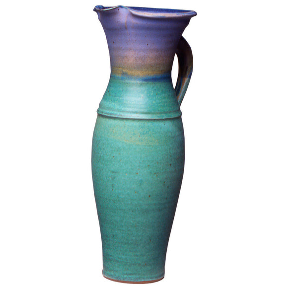 Maishe Dickman Hand Thrown Stoneware Turquoise Pitcher Tall, Artistic Artisan Pottery