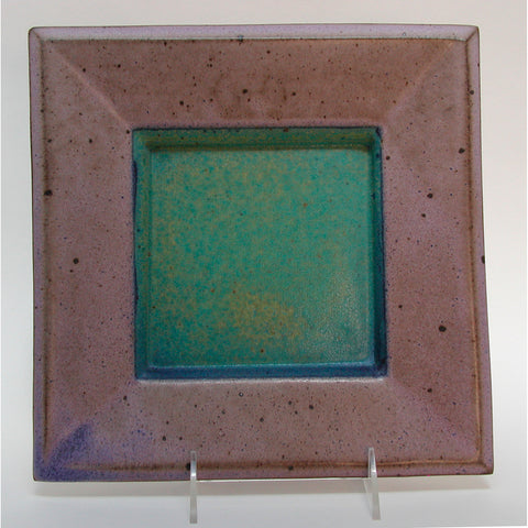 Maishe Dickman Hand Thrown Stoneware Turquoise Plate Square, Artistic Artisan Pottery