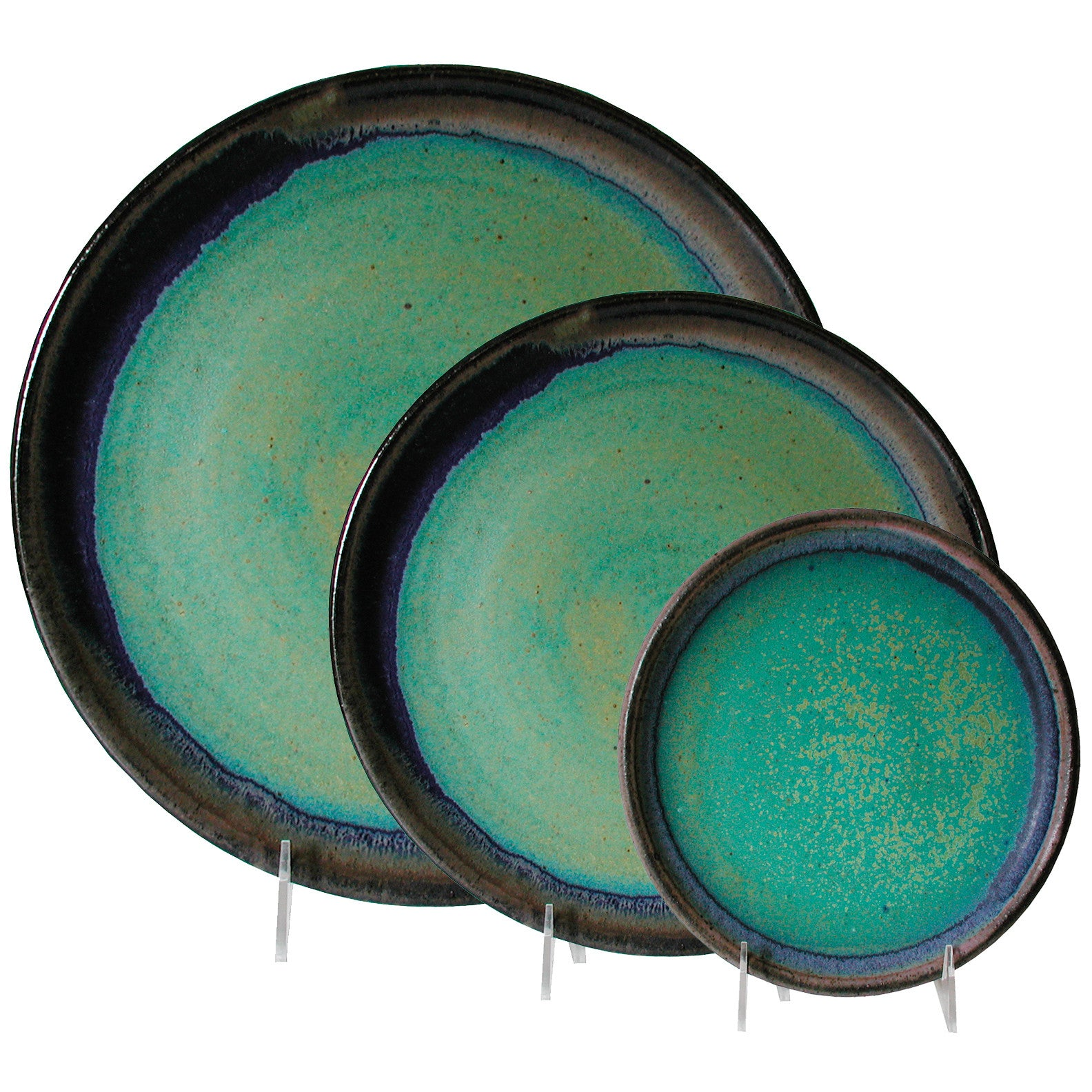 Maishe Dickman Hand Thrown Stoneware Turquoise Plates Dinnerware Place Setting Artistic Artisan Pottery  sc 1 st  Sweetheart Gallery & Maishe Dickman Hand Thrown Stoneware Turquoise Plates Dinnerware ...