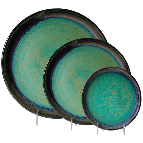 Maishe Dickman Hand Thrown Stoneware Turquoise Plates, Dinnerware, Place Setting, Artistic Artisan Pottery