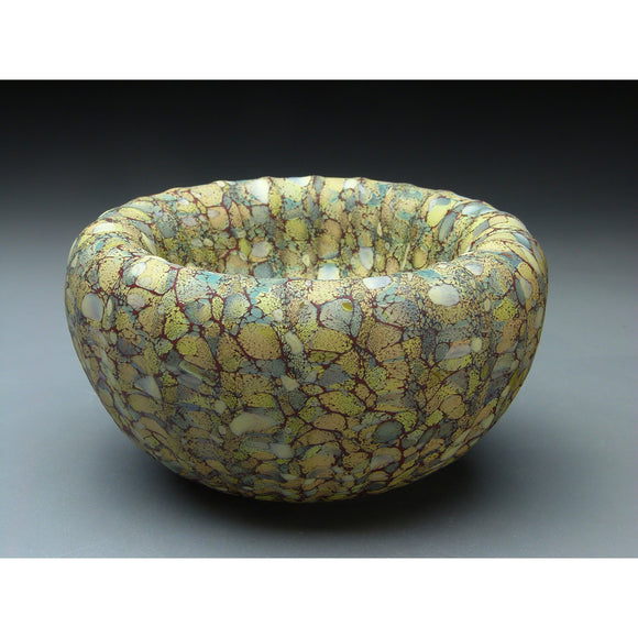 Medium Treasure Bowl in Sandy Handblown Glass Bowl by Thomas Spake Studios Artisan Handblown Art Glass Bowls