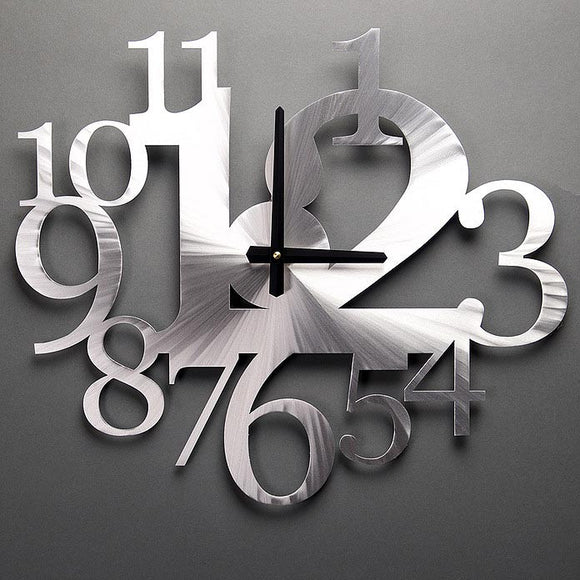 Metal Petal Art by Sondra Gerber Big Time Wall Clock in Brushed Aluminum