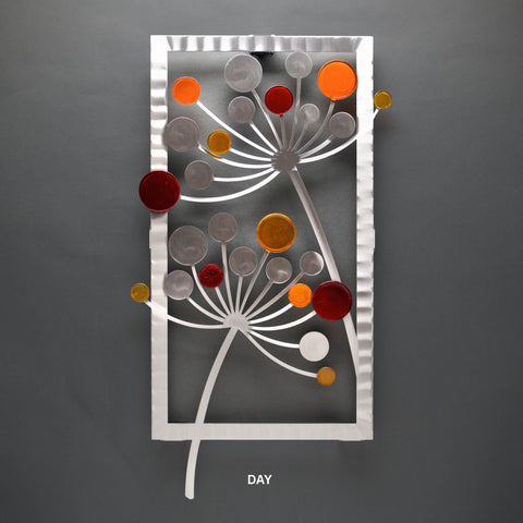 Metal Petal Art by Sondra Gerber Floret in Fall with Glass Wall Art in Orange and Red Artisan Crafted Hand Painted Brushed Aluminum Wall Sculptures