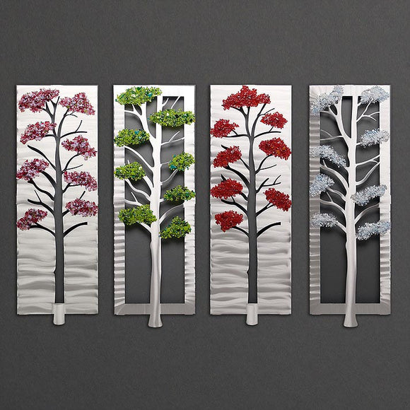 Metal Petal Art by Sondra Gerber Four Seasons Wall Sculpture in Brushed Aluminum