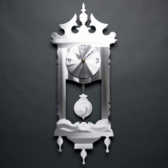 Metal Petal Art by Sondra Gerber Grandmas Clock C010 in Brushed Aluminum Artistic Designer Wall Clocks