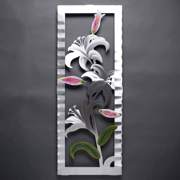 Metal Petal Art by Sondra Gerber Lily Wall Sculpture W022A in Brushed Aluminum
