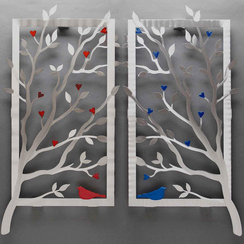 Metal Petal Art by Sondra Gerber Red or Blue Window View Wall Sculpture W005C in Brushed Aluminum