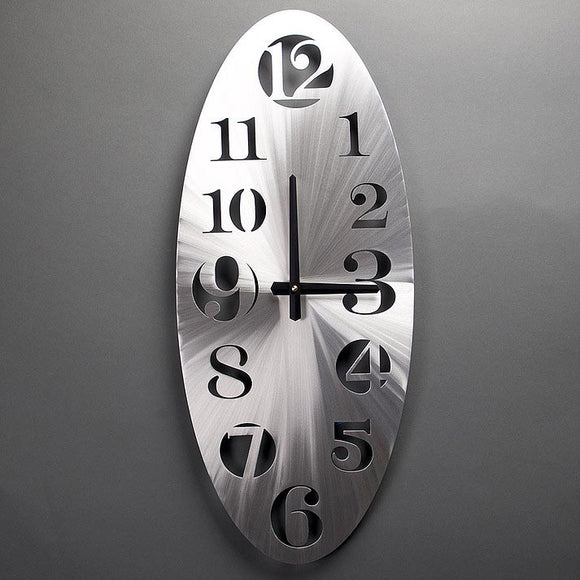 Metal Petal Art by Sondra Gerber Vertical Oval Wall Clock in Brushed Aluminum