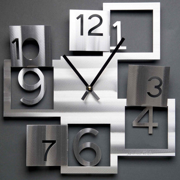 Metal Petal Art by Sondra Gerber Windows Wall Clock C008 Wall Clock in Brushed Aluminum