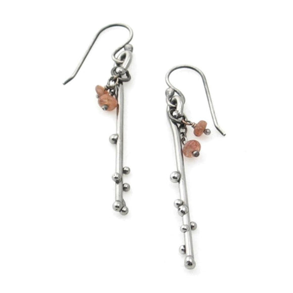 Metallic Evolution Berry Stainless Steel and Semi Precious Stone Earrings Artisan Crafted Jewelry