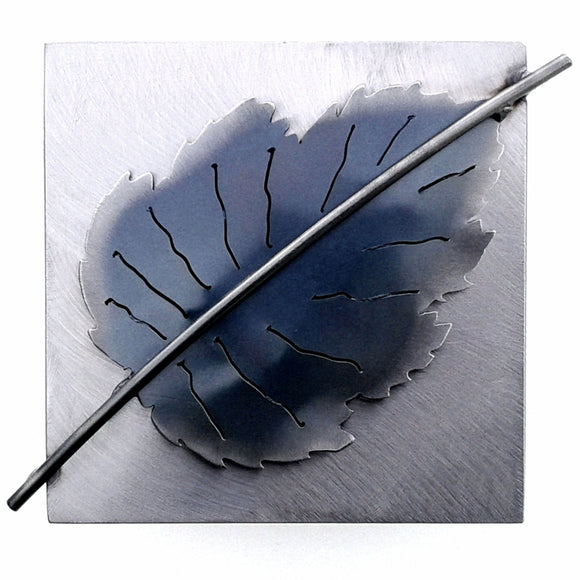 Metallic Evolution Birch Leaf Steel Tile Artisan Crafted Sculptural Wall Art