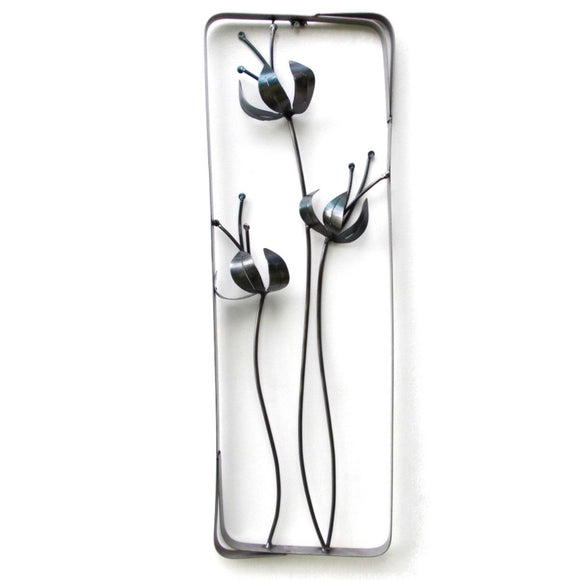 Metallic Evolution Botanical Abstract Flower Steel Wall Sculpture 3 WSBT03 Artisan Crafted Sculptural Wall Art
