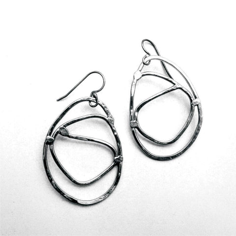 Metallic Evolution Coil Steel Earrings Artisan Crafted Jewelry