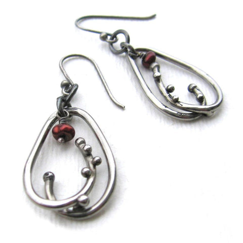 Metallic Evolution Dewdrop Stainless Steel and Semi Precious Stone Earrings Artisan Crafted Jewelry