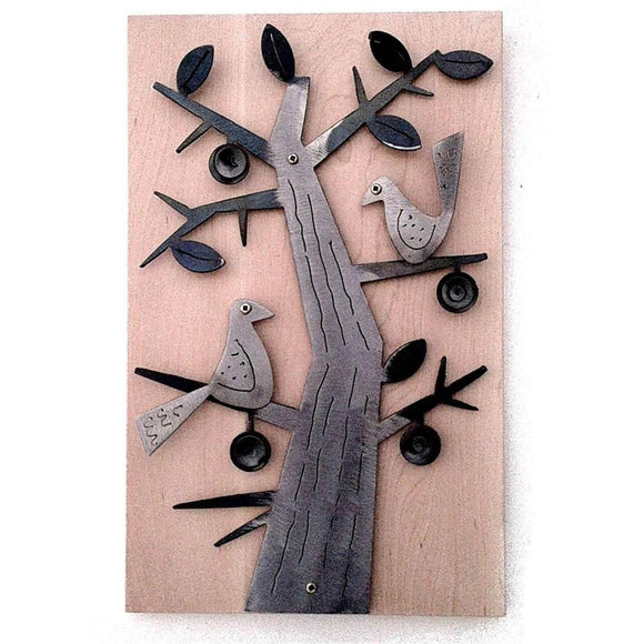 Metallic Evolution Handcut Folk Bird Steel Panel on Wood Artisan Crafted Wall Sculptural Art