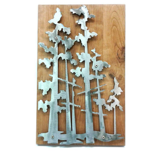Metallic Evolution Handcut Forest Steel Art Panel on Wood Artisan Crafted Sculptural Wall Art