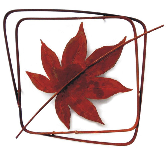 Metallic Evolution Japanese Maple Leaf Natural Rust Frame Artisan Crafted Sculptural Wall Art