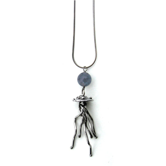 Metallic Evolution Large Jellyfish Stainless Steel and Semi Precious Stone Pendant Necklace Artisan Crafted Jewelry